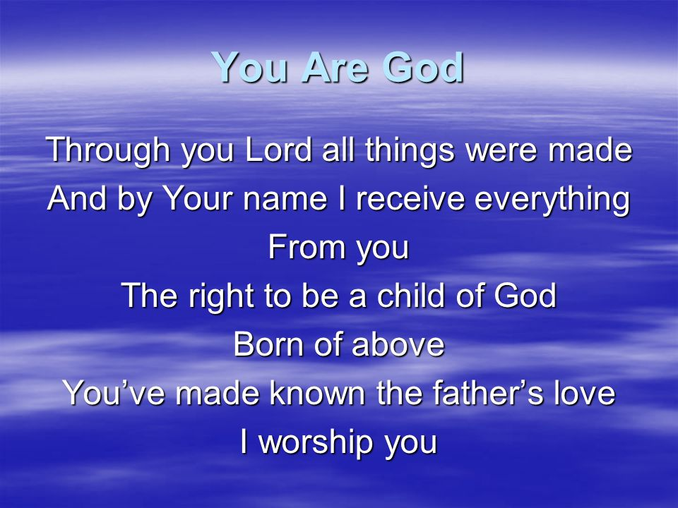 You Are God Through you Lord all things were made