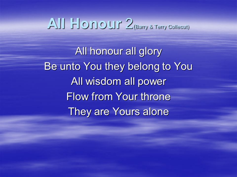All Honour 2(Barry & Terry Collecut)