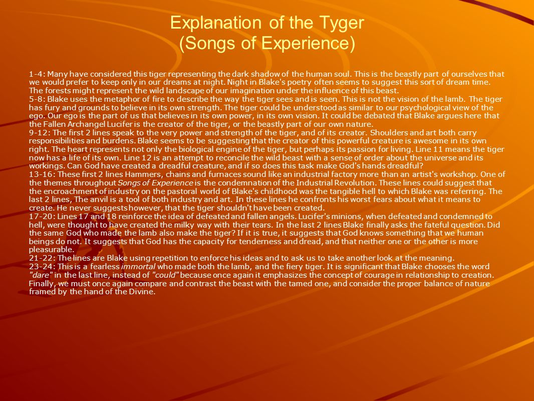 Explanation of the Tyger (Songs of Experience)