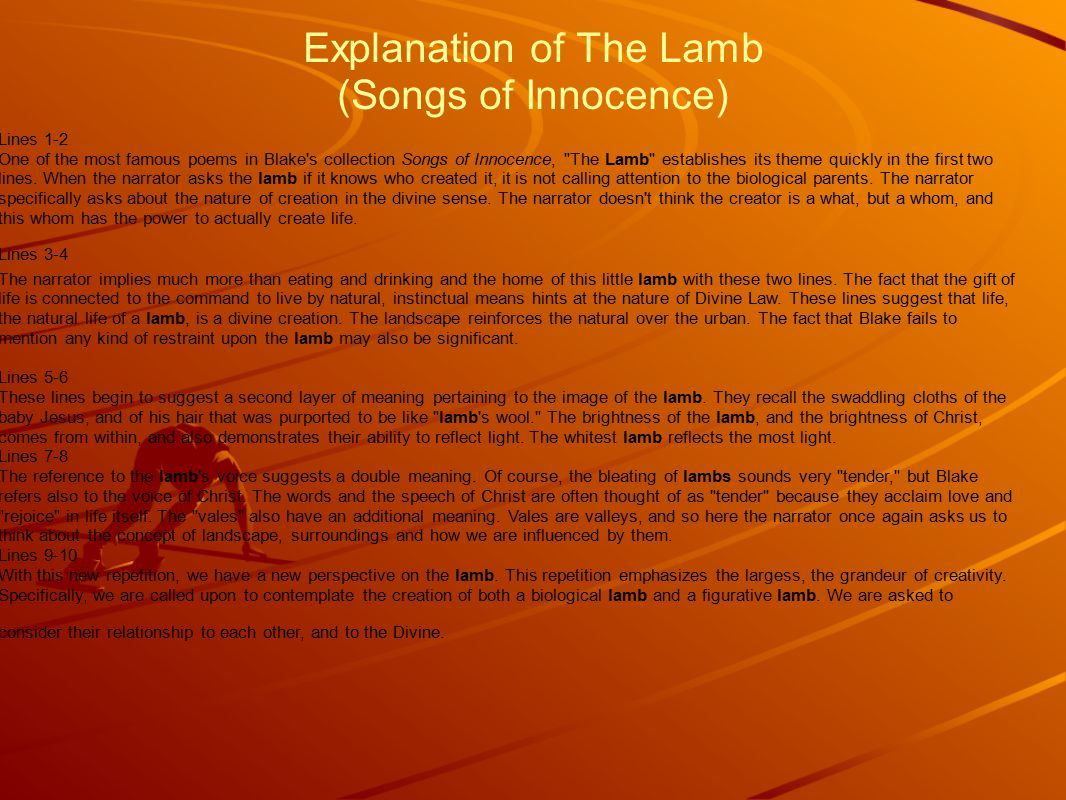 Explanation of The Lamb (Songs of Innocence)