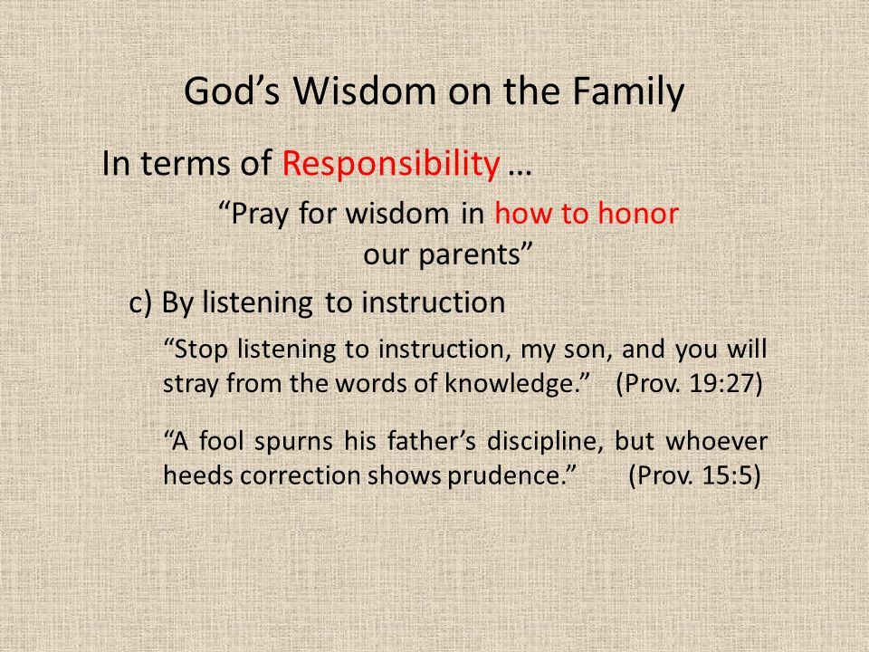 Pray for wisdom in how to honor our parents