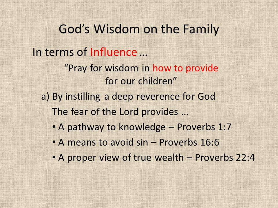 Pray for wisdom in how to provide for our children