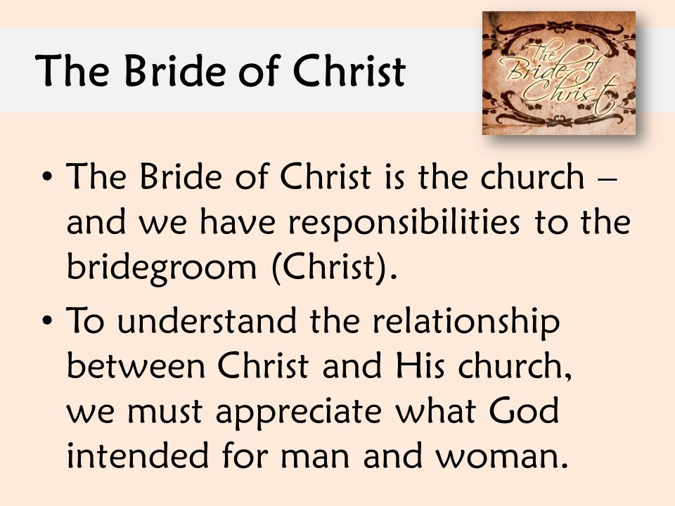 The Bride of Christ The Bride of Christ is the church – and we have responsibilities to the bridegroom (Christ).