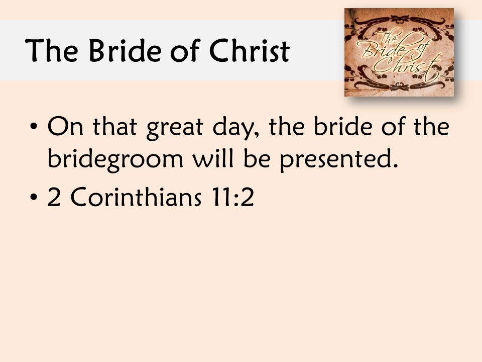 The Bride of Christ On that great day, the bride of the bridegroom will be presented.
