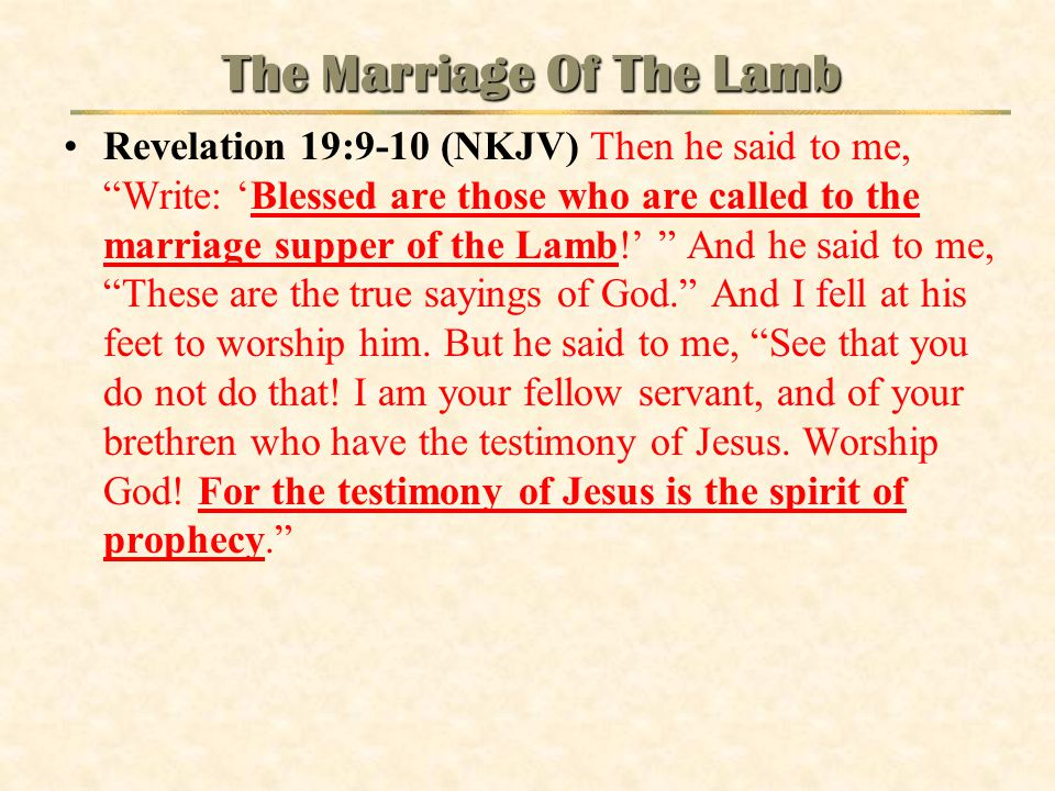 The Marriage Of The Lamb