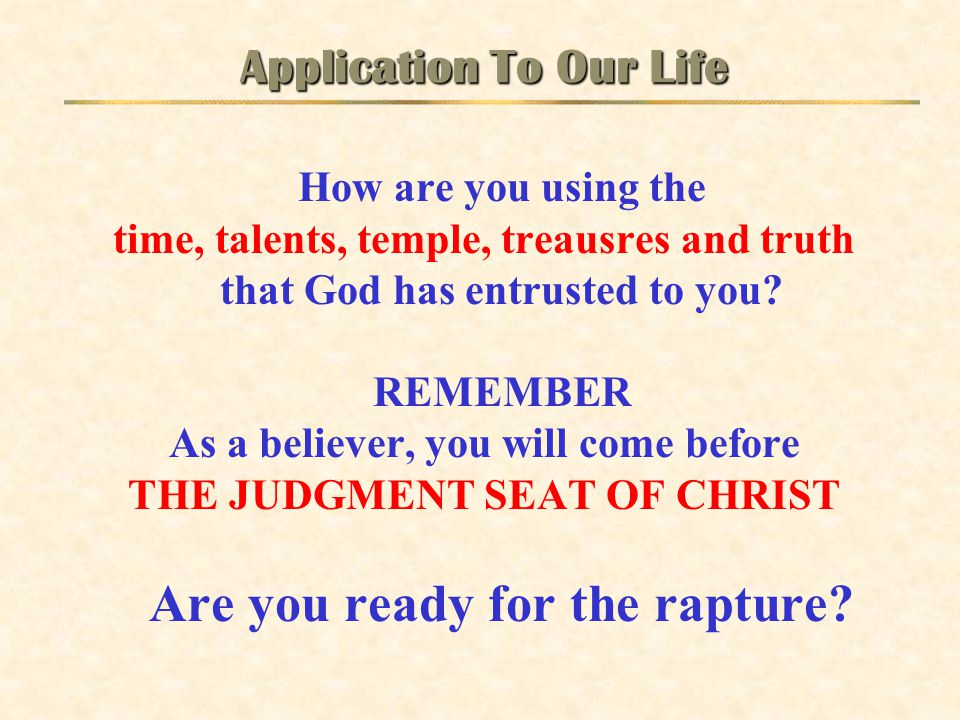 Application To Our Life