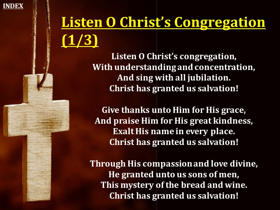 Listen O Christ's Congregation (1/3)