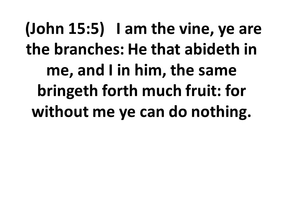 (John 15:5) I am the vine, ye are the branches: He that abideth in me, and I in him, the same bringeth forth much fruit: for without me ye can do nothing.