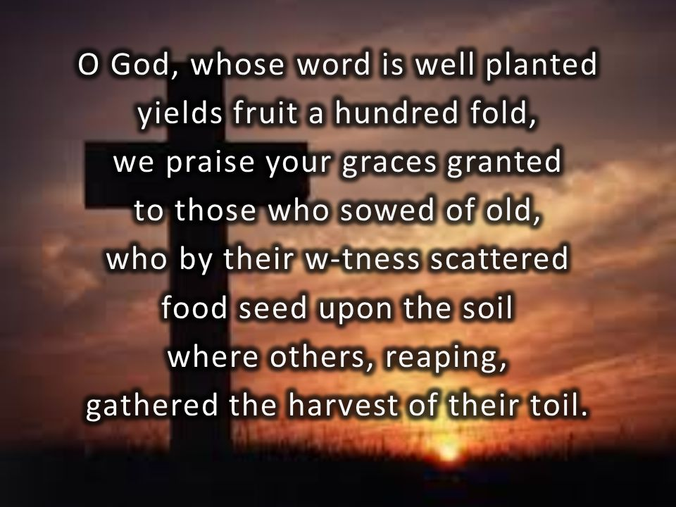 O God, whose word is well planted yields fruit a hundred fold,