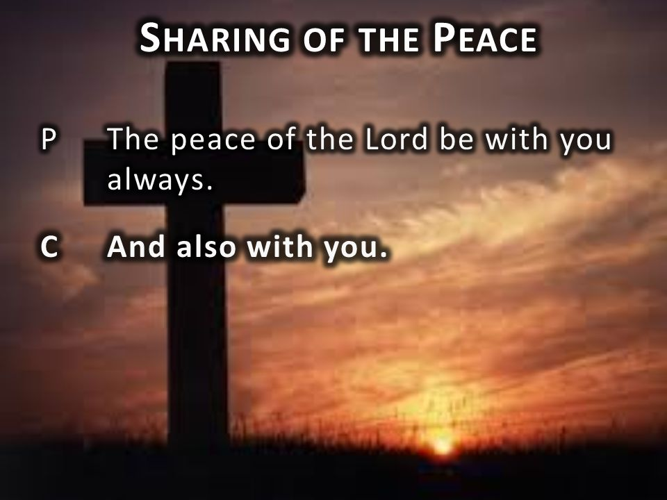 Sharing of the Peace P The peace of the Lord be with you always. C And also with you.