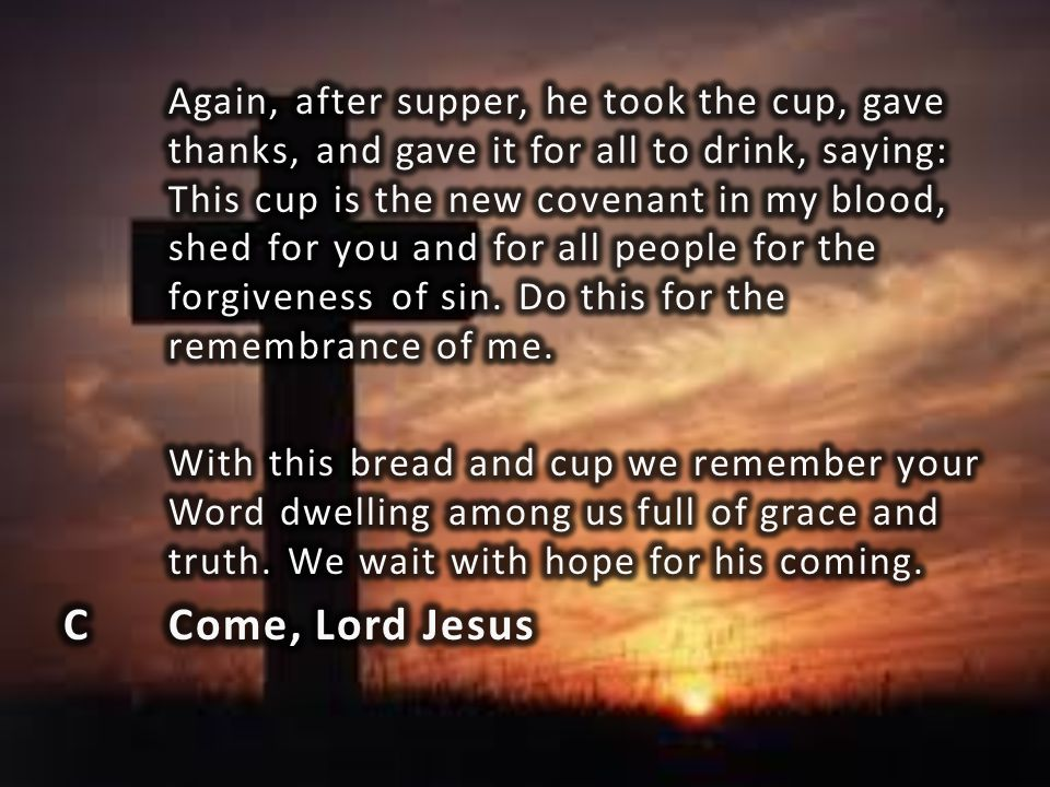 Again, after supper, he took the cup, gave thanks, and gave it for all to drink, saying: This cup is the new covenant in my blood, shed for you and for all people for the forgiveness of sin. Do this for the remembrance of me.