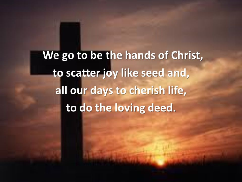 We go to be the hands of Christ,