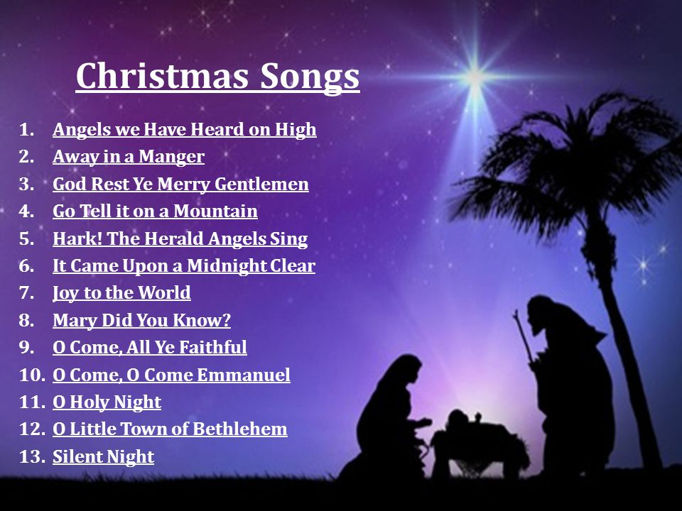 Christmas Songs Angels we Have Heard on High Away in a Manger