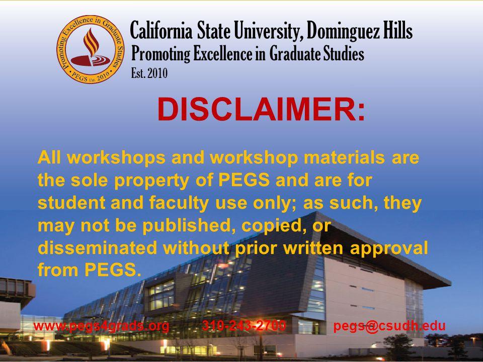 www.pegs4grads.org 310-243-2700 pegs@csudh.edu