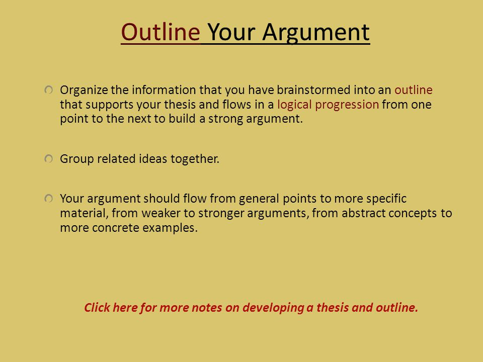 Click here for more notes on developing a thesis and outline.