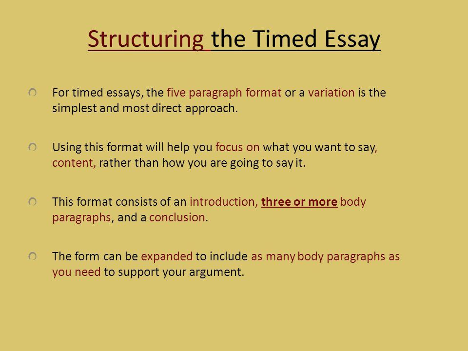 Structuring the Timed Essay