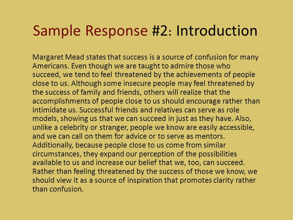 Sample Response #2: Introduction