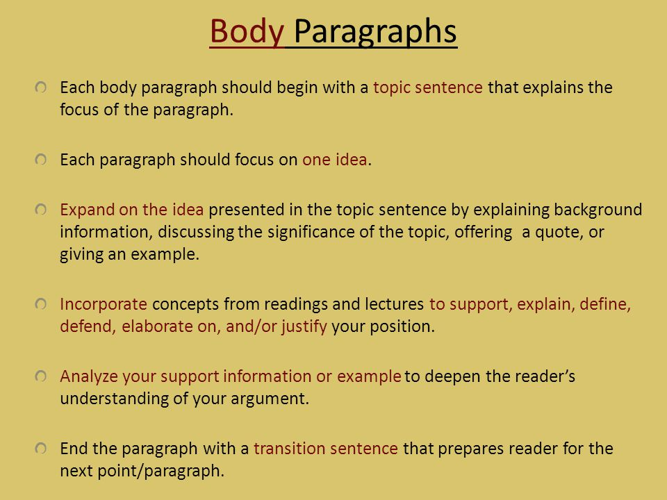 Body Paragraphs Each body paragraph should begin with a topic sentence that explains the focus of the paragraph.