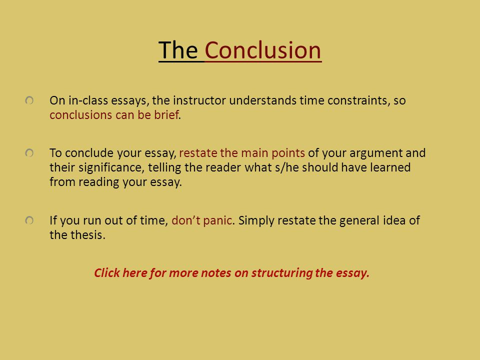 Click here for more notes on structuring the essay.