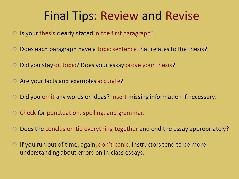 Final Tips: Review and Revise