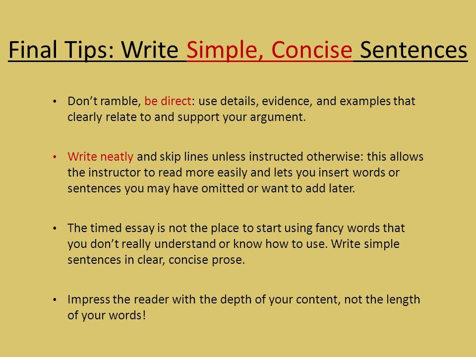 Final Tips: Write Simple, Concise Sentences