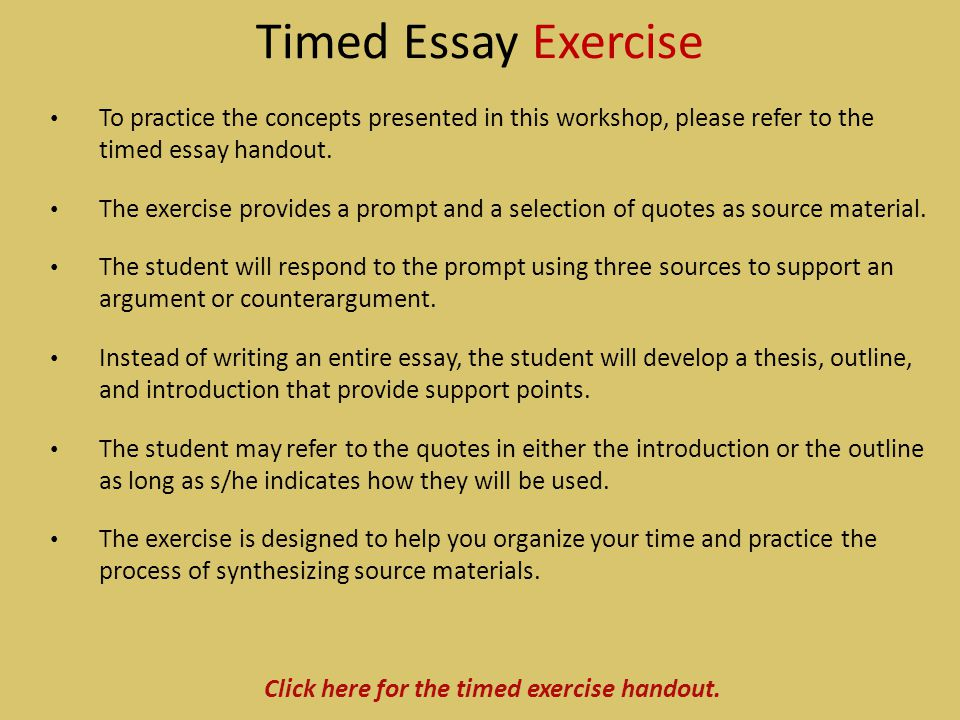 Click here for the timed exercise handout.