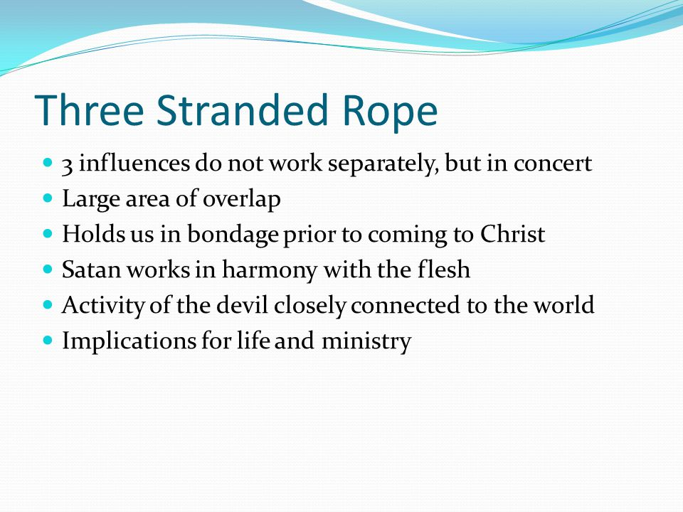 Three Stranded Rope 3 influences do not work separately, but in concert. Large area of overlap. Holds us in bondage prior to coming to Christ.