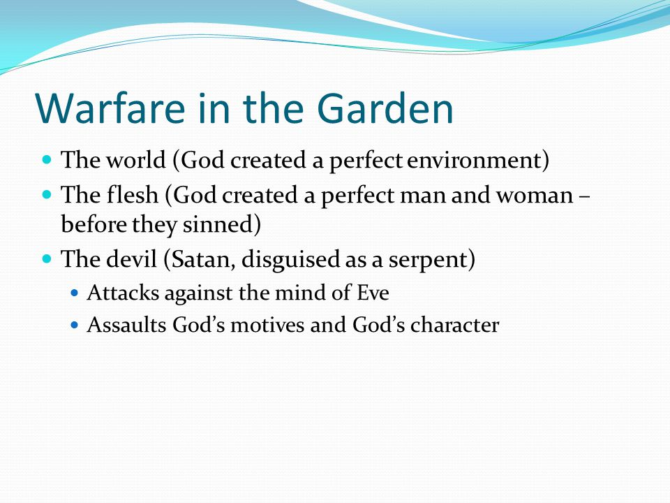 Warfare in the Garden The world (God created a perfect environment)
