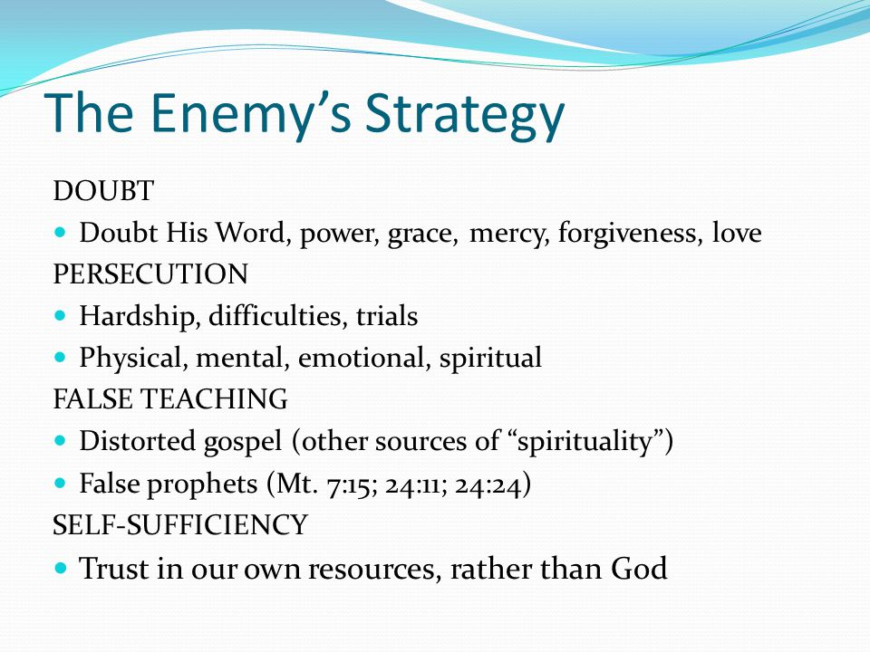 The Enemy's Strategy Trust in our own resources, rather than God DOUBT