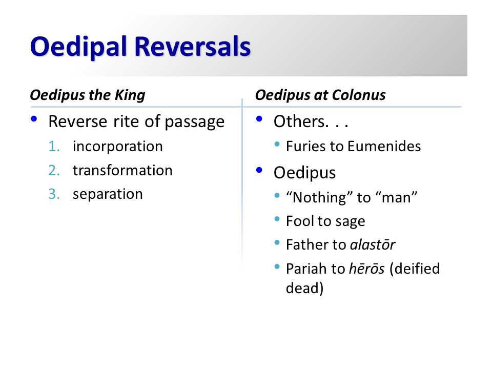 Oedipal Reversals Reverse rite of passage Others. . . Oedipus