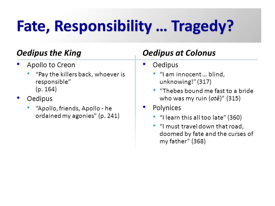 Fate, Responsibility … Tragedy