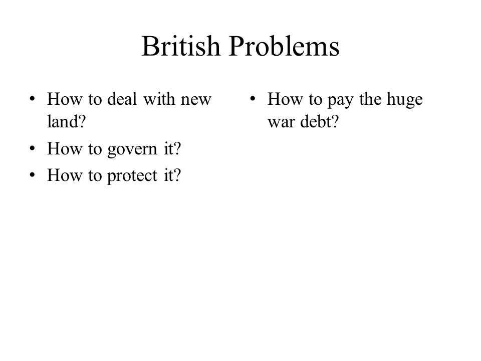 British Problems How to deal with new land How to govern it