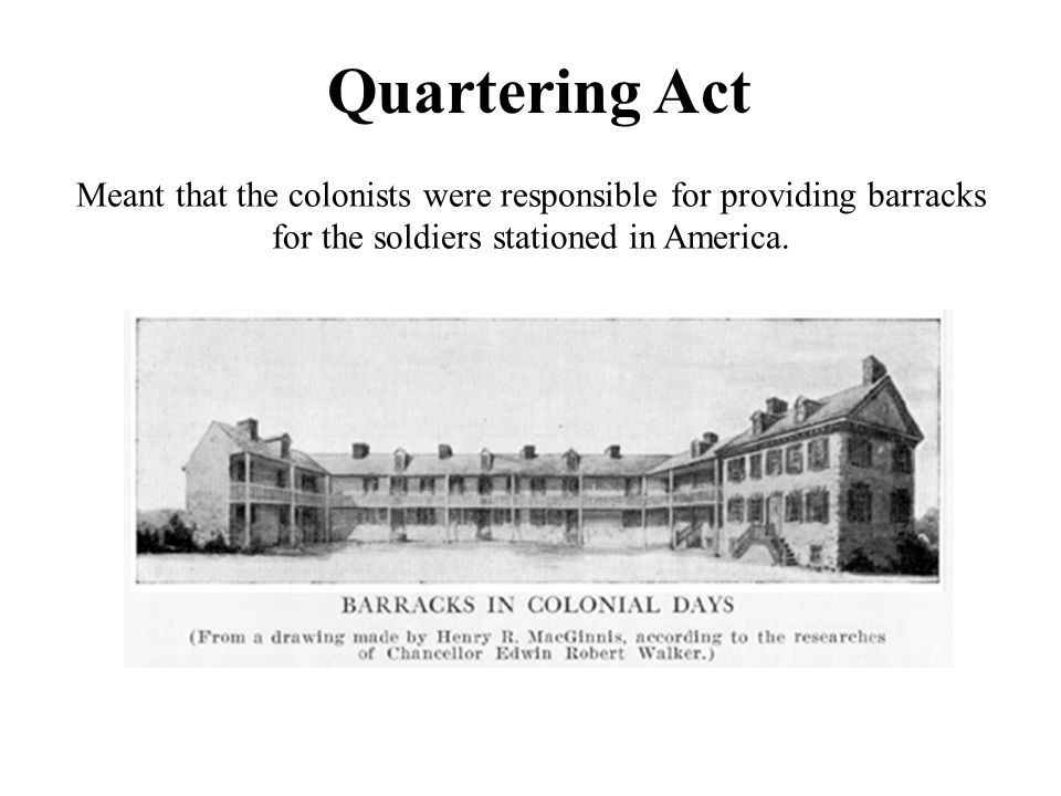 Quartering Act Meant that the colonists were responsible for providing barracks for the soldiers stationed in America.
