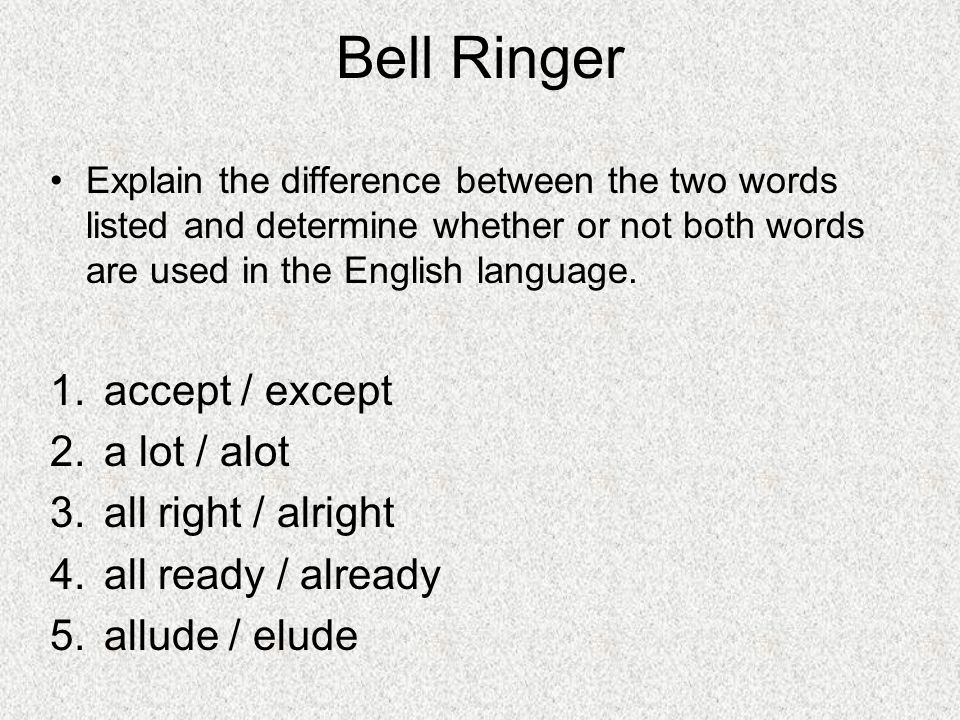 Bell Ringer accept / except a lot / alot all right / alright