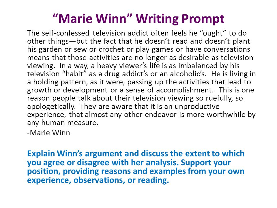 Marie Winn Writing Prompt