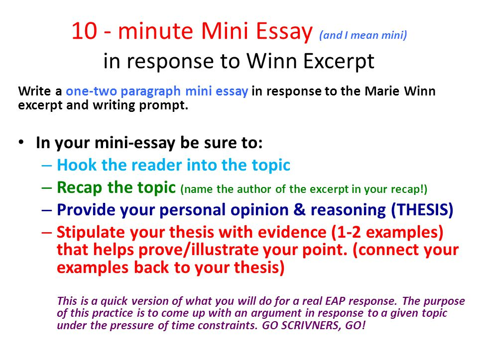 10 - minute Mini Essay (and I mean mini) in response to Winn Excerpt