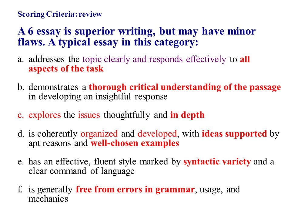 Scoring Criteria: review