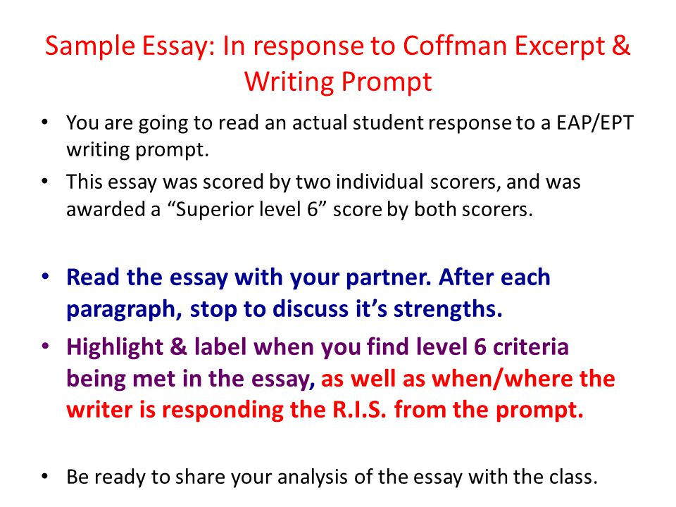 Sample Essay: In response to Coffman Excerpt & Writing Prompt