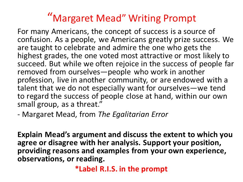 Margaret Mead Writing Prompt