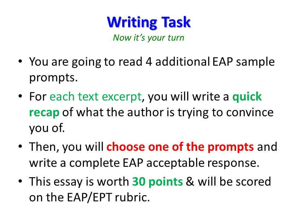 Writing Task Now it's your turn