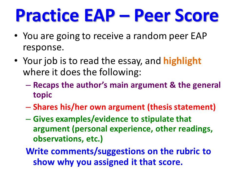 Practice EAP – Peer Score