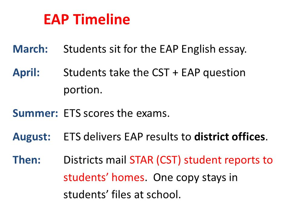 EAP Timeline March: Students sit for the EAP English essay.