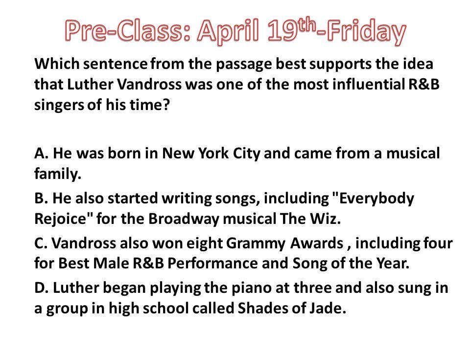 Pre-Class: April 19th-Friday