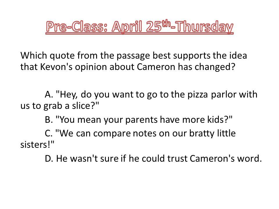 Pre-Class: April 25th-Thursday