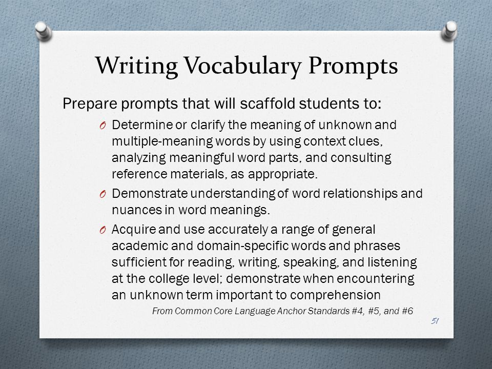 Writing Vocabulary Prompts