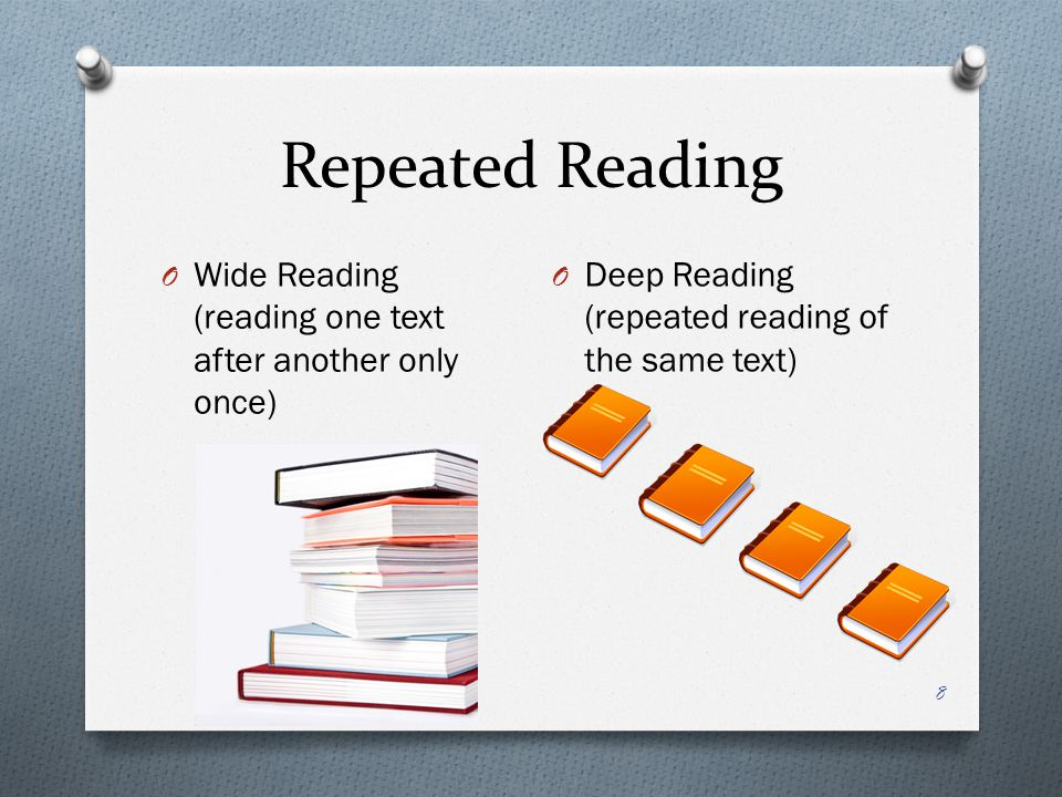 Repeated Reading Wide Reading (reading one text after another only once) Deep Reading (repeated reading of the same text)