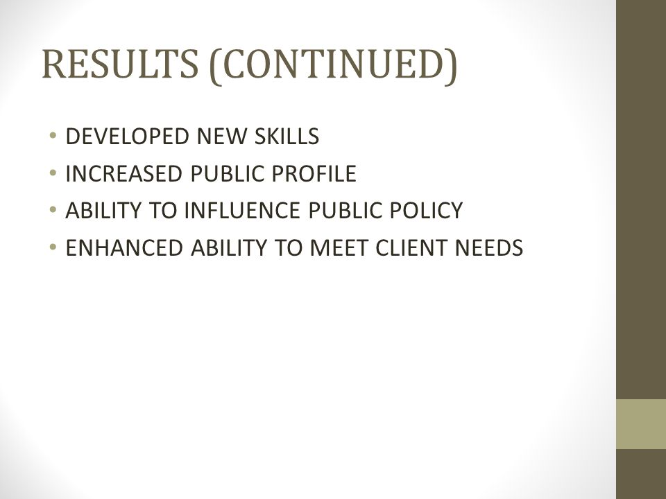 RESULTS (CONTINUED) DEVELOPED NEW SKILLS INCREASED PUBLIC PROFILE