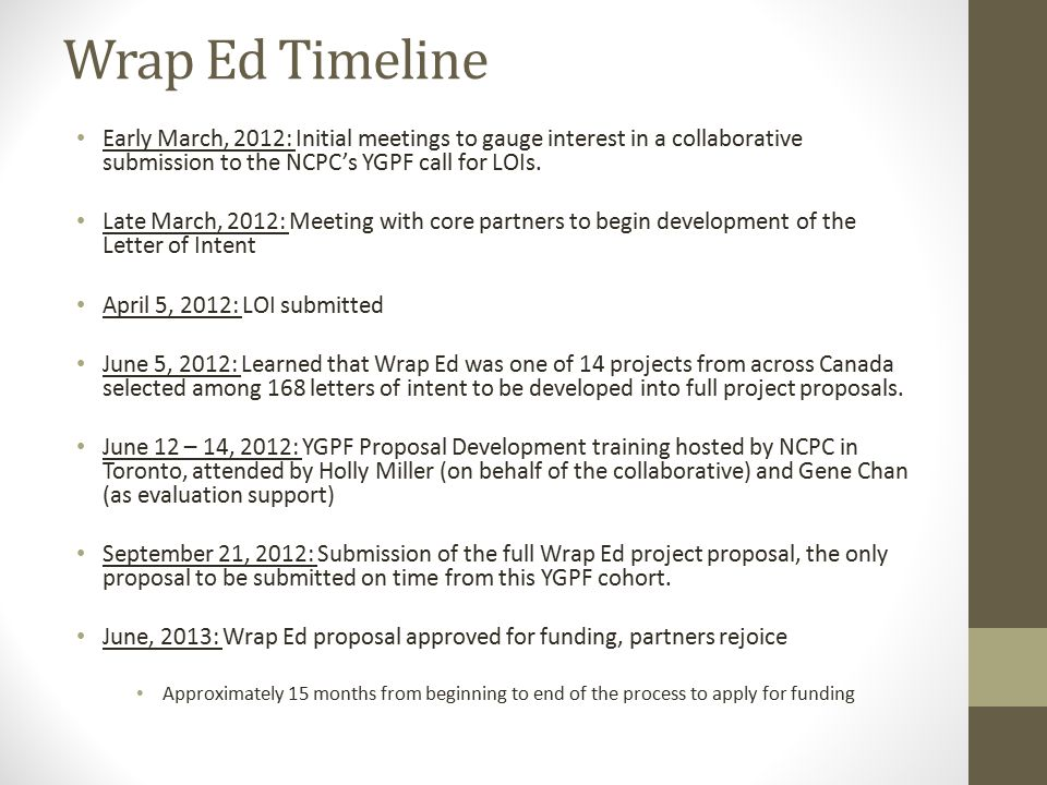 Wrap Ed Timeline Early March, 2012: Initial meetings to gauge interest in a collaborative submission to the NCPC's YGPF call for LOIs.