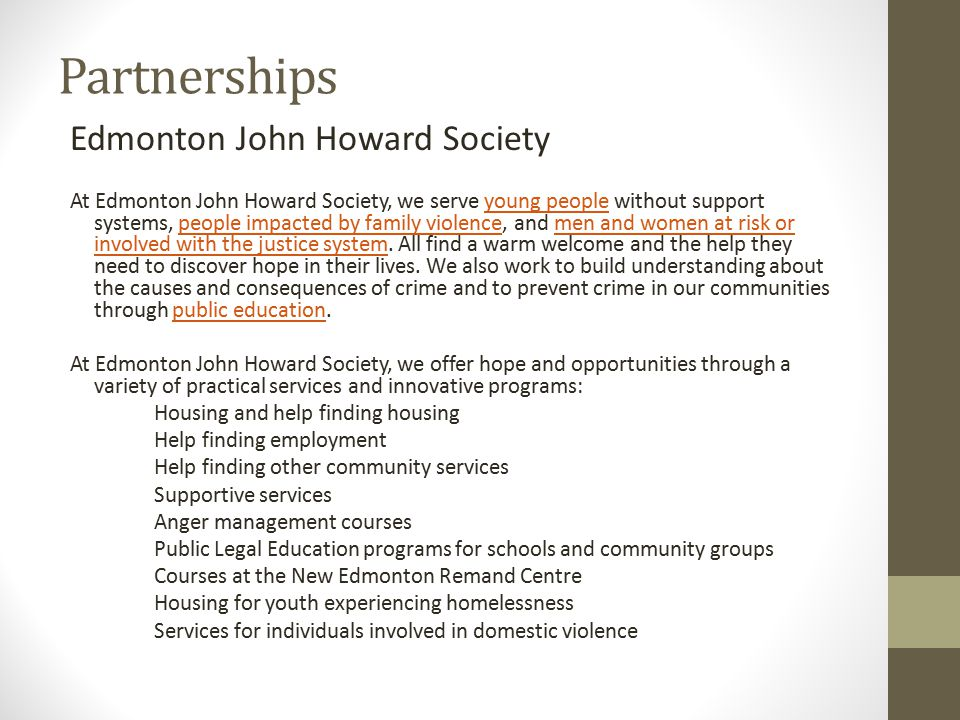 Partnerships Edmonton John Howard Society