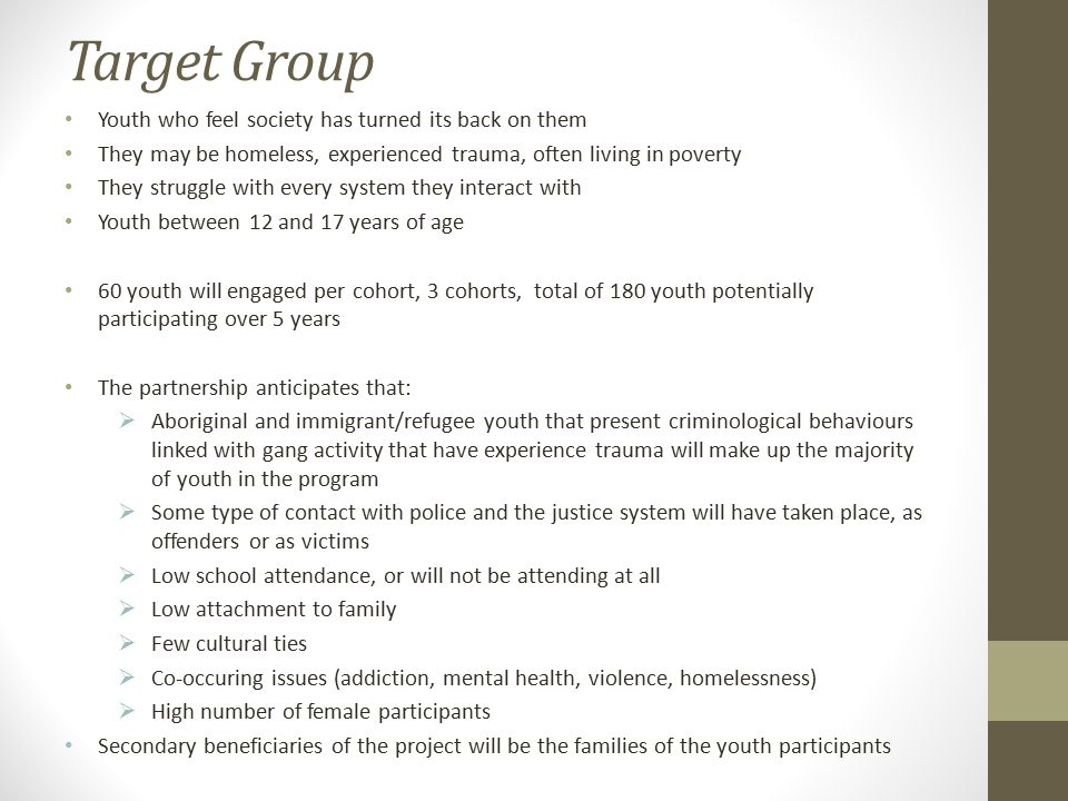 Target Group Youth who feel society has turned its back on them